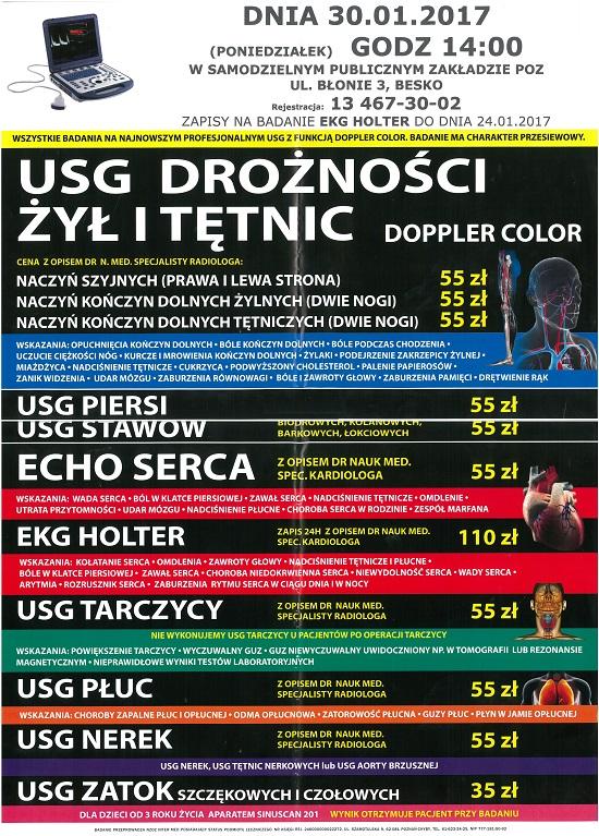 USG drożności zył i tętnic w SPZPOZ w Besku